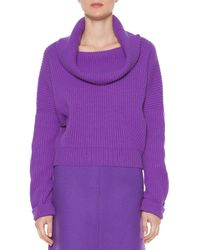 Tomas Maier Purple Cashmere Ribbed Cowl-neck Sweater