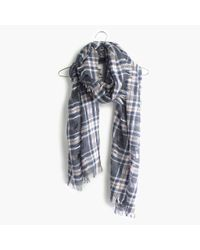 Madewell | Gray Openweave Scarf In Floresti Plaid | Lyst