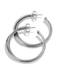 David Yurman Metallic Crossover Extra Large Hoop Earrings With Diamonds