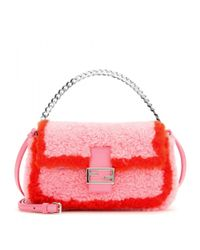 Fendi | Multicolor Micro Baguette Shearling Shoulder Bag | Lyst