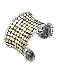 John Hardy | Metallic Dot Silver & 18k Gold Wide Cuff | Lyst