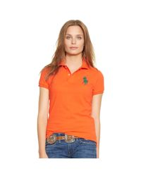Polo Ralph Lauren - Orange Skinny-fit Big Pony Polo Shirt - Lyst