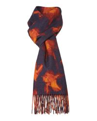 Paul Smith Multicolor Iris and Stripe Double Sided Cashmere Mix Scarf