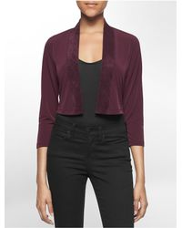 Calvin Klein | Purple White Label Ultra Suede Trim Shrug | Lyst