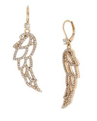 Betsey Johnson | Metallic Heaven Sent Pave Wing Drop Earrings | Lyst