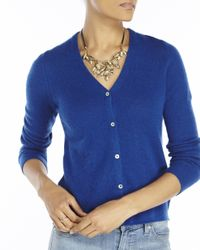 In Cashmere | Blue Petite V-Neck Knit Cardigan | Lyst