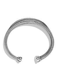 David Yurman - Metallic Crossover Four-row Cuff With Diamonds - Lyst