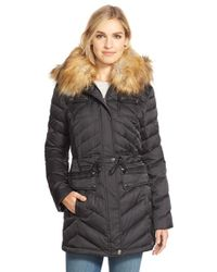 Laundry by Shelli Segal Black Belted Down & Feather Fill Utility Parka With Faux Fur Trim