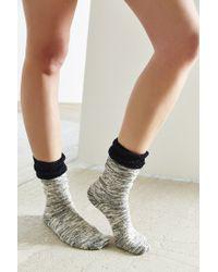 Urban Outfitters - Black Crochet Cuff Slouchy Sock - Lyst
