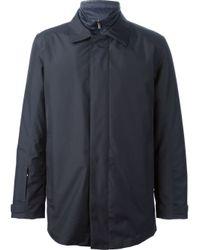 Zegna Sport Blue Padded Lined Raincoat for men