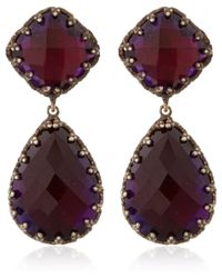 Larkspur & Hawk - Purple Small Rose Gold Wash Scarlet Amethyst Jane Earrings - Lyst