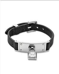 Michael Kors Black Leather Padlock Wrap Bracelet