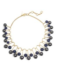 Lele Sadoughi   Blue Pave Beaded Fan Necklace   Lyst