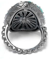 Stephen Dweck Metallic Silver Topaz Twin Stone Ring