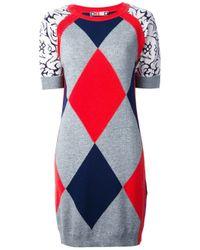 MSGM Gray Diamond Knit Dress