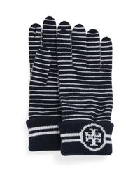 Tory Burch | Blue Striped Wool Gloves With Logo | Lyst