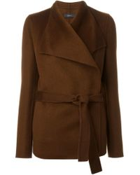 JOSEPH - Brown Belted Wrap Jacket - Lyst