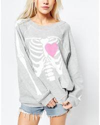 Wildfox Gray My Beating Heart Sweater