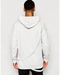 ASOS - Gray Oversized Hoodie With Straps for Men - Lyst