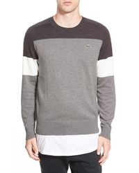 Lacoste | Gray Lacoste L!ve Colorblock Crewneck Sweater for Men | Lyst