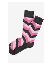 Express | Pink Chevron Point Dress Socks for Men | Lyst