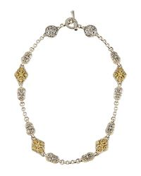 Konstantino | Metallic Double-sided Scroll Station Necklace W/ Peridot | Lyst