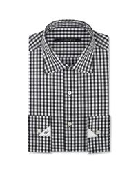 Sean john Black and White Check Dress Shirt in Black for Men | Lyst