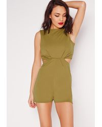 a421d1d094 Missguided Cut Out Waist Playsuit Khaki in Natural - Lyst