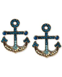 Betsey Johnson | Blue Gold-Tone Pavé Anchor Stud Earrings | Lyst