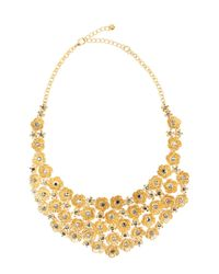 Lydell NYC | Metallic Golden Flower Bib Necklace | Lyst