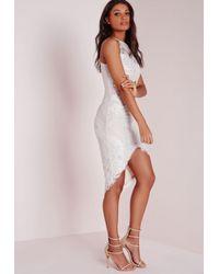 Missguided Lace Curve Hem Midi Dress White/nude