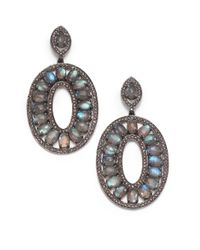 Bavna | Blue Labradorite & Champagne Diamond Pavã© Oval Drop Earrings | Lyst