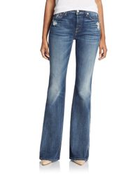 7 For All Mankind - Blue Distressed Vintage-wash Bootcut Jeans - Lyst