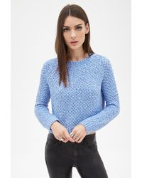 Forever 21 | Blue Boxy Textured Waffle Knit Sweater | Lyst