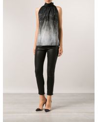 Barbara Bui - Gray Tie Neck Blouse - Lyst