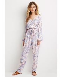 Forever 21 | Blue Belted Abstract Print Jumpsuit | Lyst
