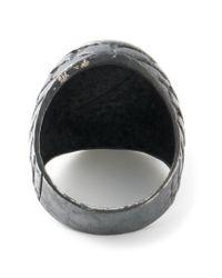 Societe Anonyme - Black Square Polished Logo Signet Ring - Lyst