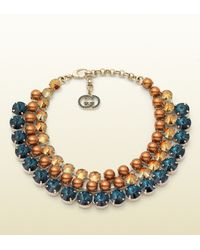 Gucci | Blue Embellished Necklace | Lyst