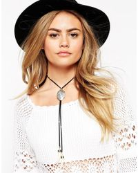 ASOS | Blue Bolo Tusk Charm Choker Necklace | Lyst