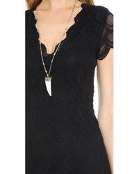 Nightcap - Black Deep V Cap Sleeve Dress - Lyst