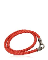 """Tod's Orange """"my Colors"""" Braided Leather Bracelet for men"""