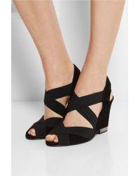 Tory Burch Black Debbie Elasticated Suede Wedge Sandals