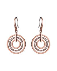 Michael Kors | Metallic Pave Small Rings Fishwire Earring | Lyst