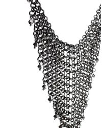 French Connection - Metallic Chainmail and Bead Drop Necklace - Lyst