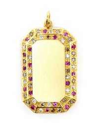 Carolina Bucci - Metallic Pavé Diamond And Pink Sapphire Frame Pendant - Lyst