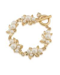 Carolee Metallic Faux Pearl Toggle Bracelet