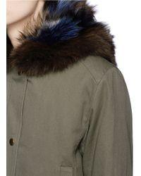 Vince Green Coyote Hood Detachable Fox Fur Layer Canvas Parka