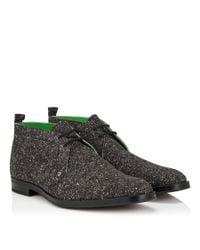 Jimmy Choo Black Dunstan Steel Grey Wool Suede Chukka Boots for men