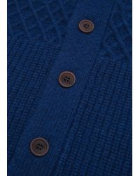 Mango | Blue Chunky-knit Wool-blend Cardigan for Men | Lyst