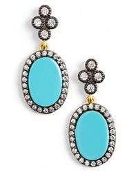 Freida Rothman | Metallic 'femme' Stone Drop Earrings - Gunmetal/ Turquoise | Lyst